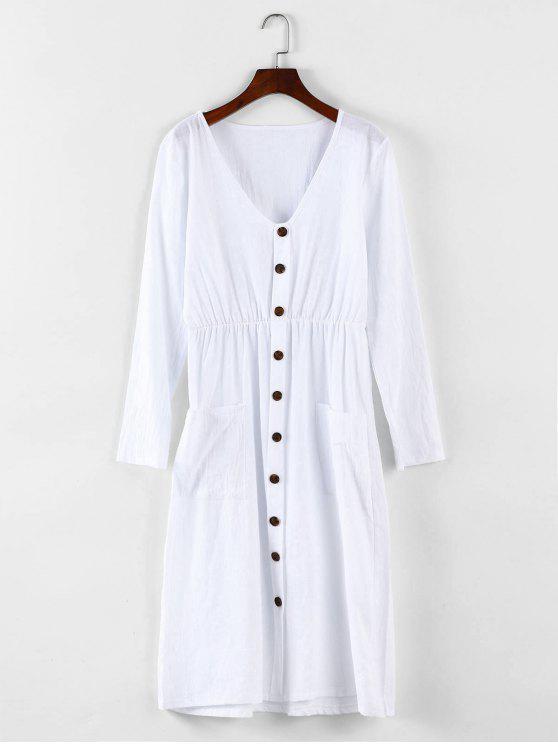 fancy Button Detail Drop Pockets Dress - WHITE S