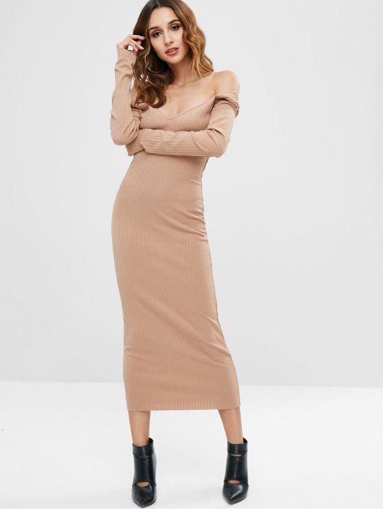 lady Off Shoulder Long Sleeve Knit Bodycon Dress - CAMEL BROWN L