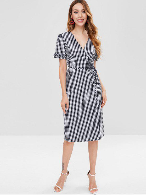 unique Plaid Ruffle Wrap Dress - BLACK L