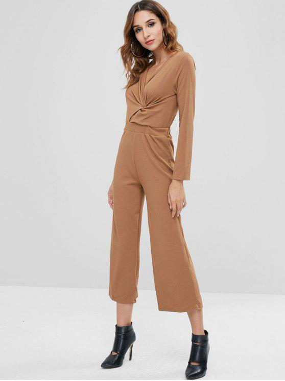 sale Twist Wide Leg Jumpsuit - WOOD ONE SIZE