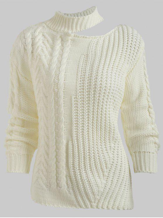 shop Cutout Drop Shoulder Chunky Sweater - WHITE ONE SIZE