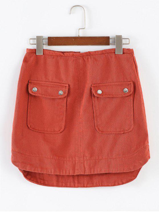 shop Flap Pocket Half Zip Mini Skirt - CHOCOLATE M
