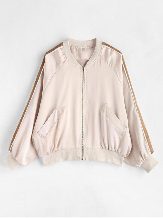 Женская Куртка-Бомбер На Молнии С Рукавами Реглана - Тёплый белый S