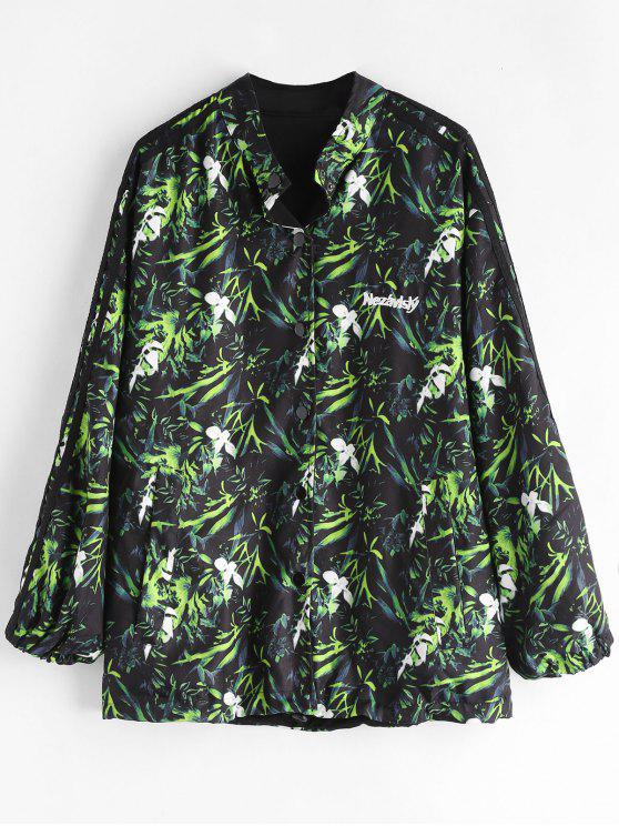 latest Button Front Printed Oversized Jacket - BLACK ONE SIZE