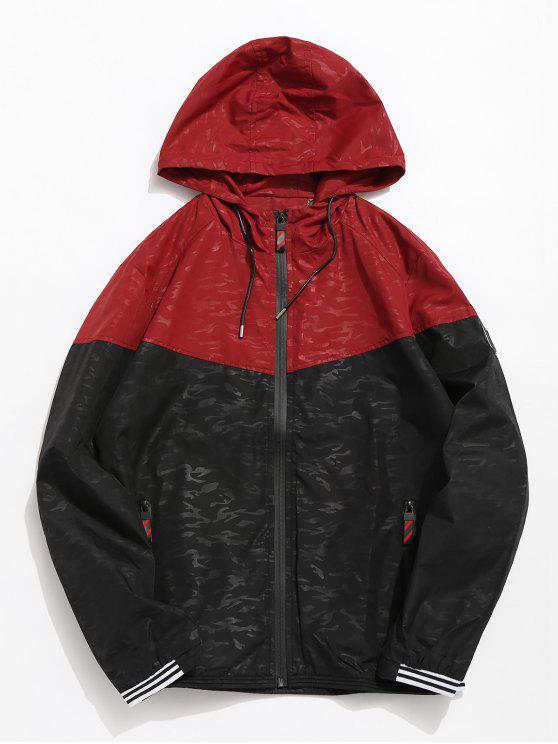 buy Color Block Patchwork Hoodie Jacket - CHESTNUT RED XS