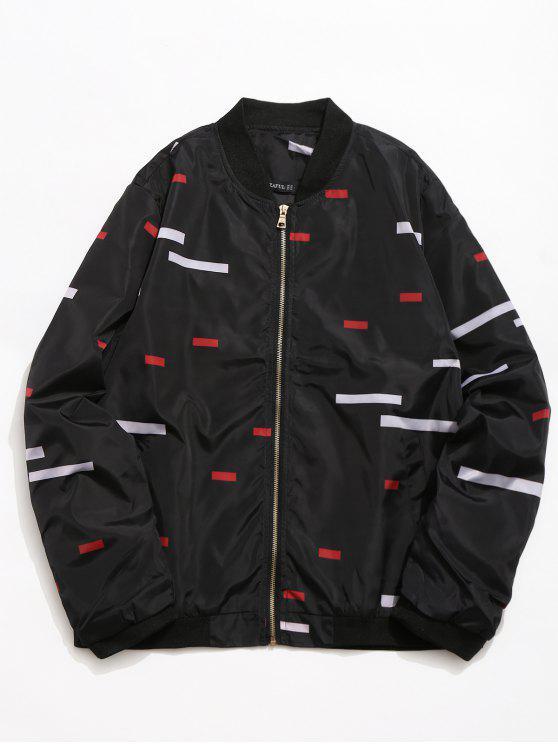 best Rectangle Printed Zipper Placket Baseball Jacket - BLACK S