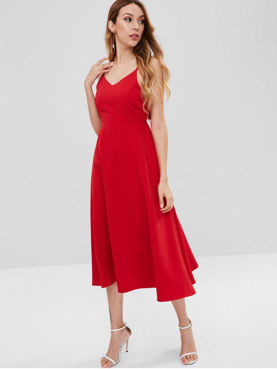 buy Tie Back Sleeveless Midi Dress - RED M