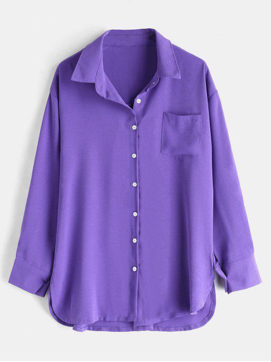 Drop Shoulder Patch Tasche entspanntes Freizeithemd - Lila Eine Größe