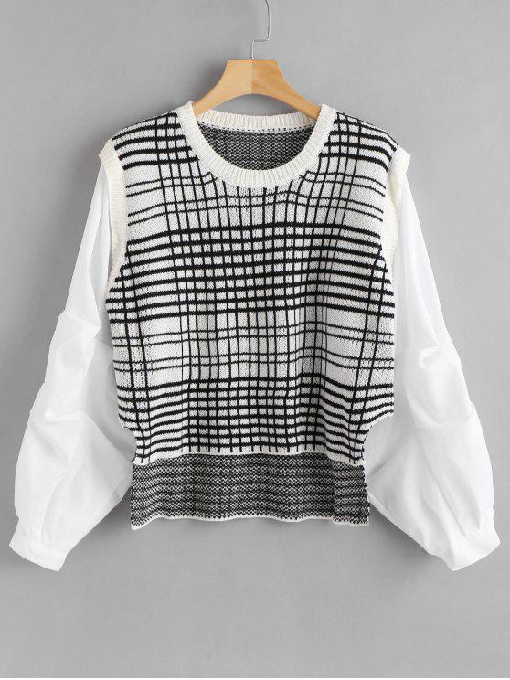 Karierter Faux Twinset Pullover - Kristall-Creme Eine Größe