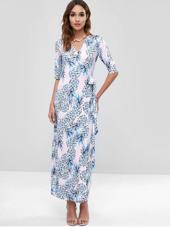 الأناناس لف فستان ماكسي - متعدد M