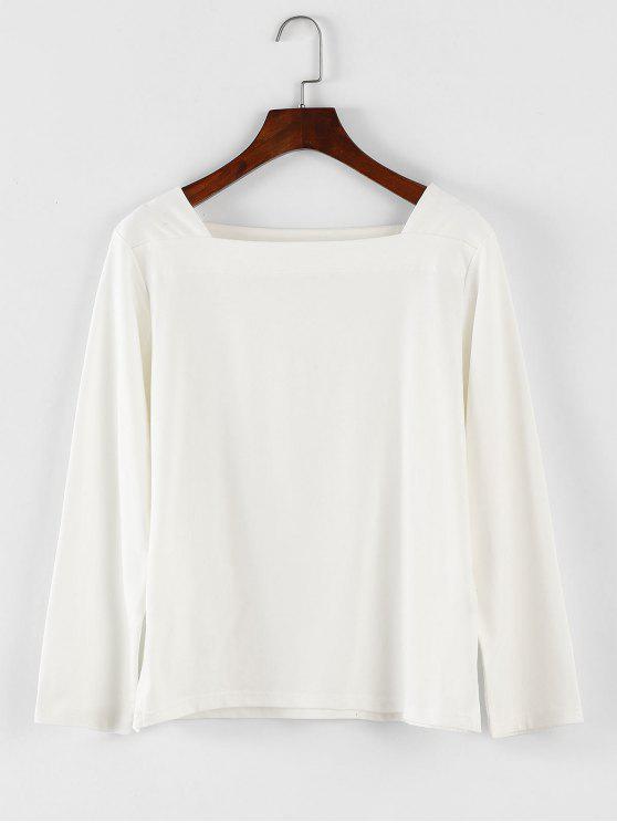 Square Neck Langarm-T-Shirt - Weiß Eine Größe