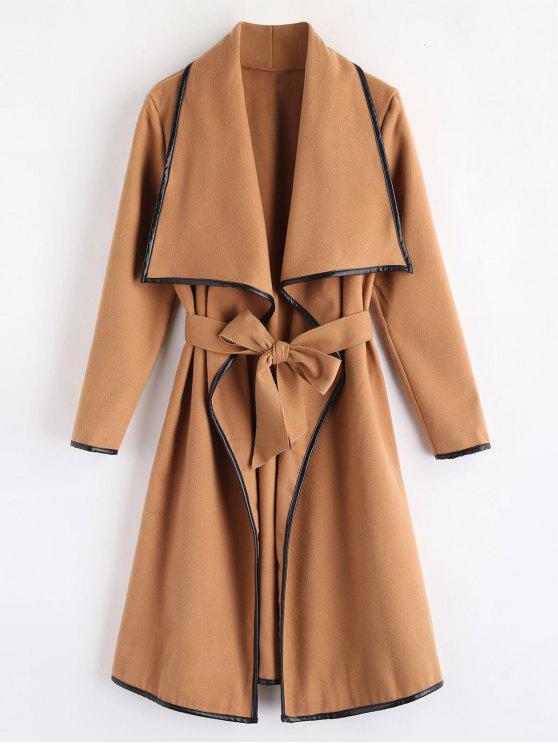 fashion Contrasting Piping Shawl Collar Wrap Coat - CAMEL BROWN M
