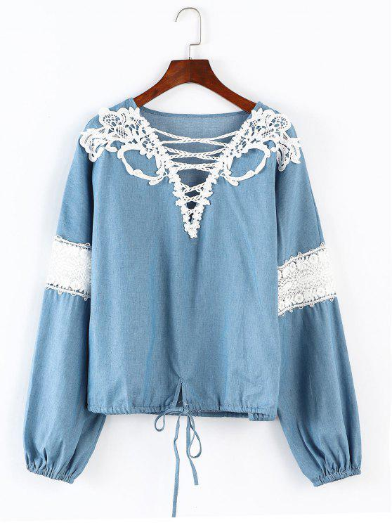 V-Ausschnitt Kordelzug Bluse - Hellblau L
