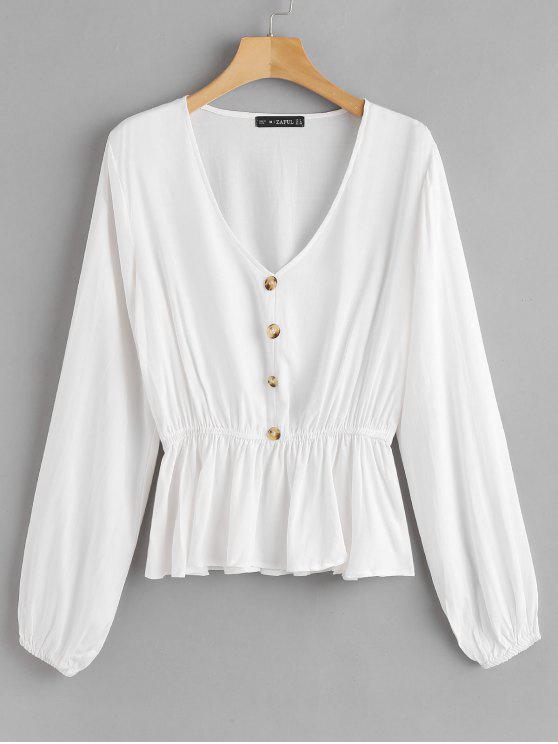 Zaful Button V Neck Blouse   White L by Zaful