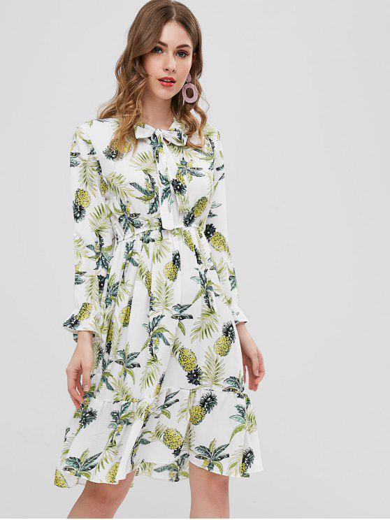 outfits Long Sleeve Pineapple Midi Dress - WHITE XL