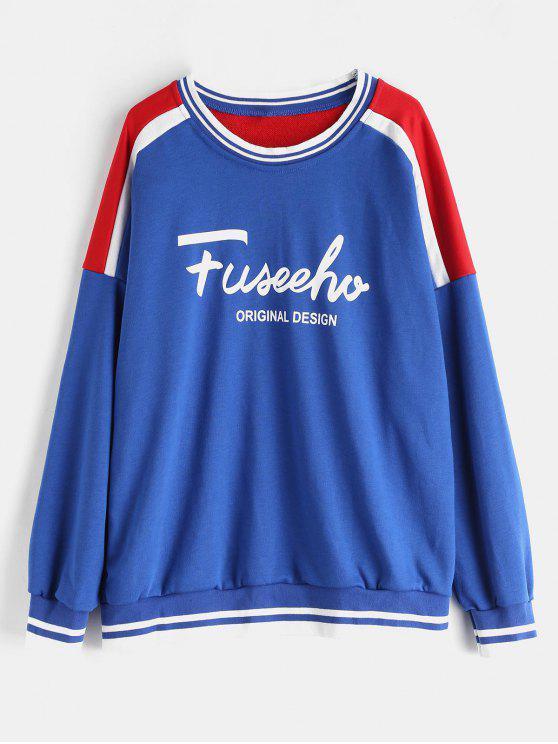 Übergroßes Grafik-Sweatshirt - Blau Eine Größe