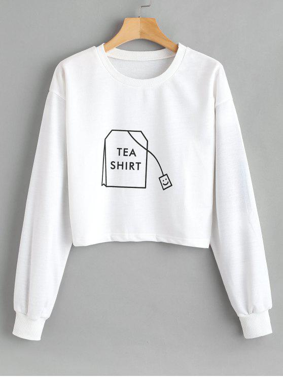 ZAFUL Tea Graphic Crop Sweatshirt - Blanco L