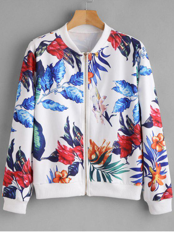 Женская Куртка-Бомбер На Молнии С Принтом Листьев - Белый XL