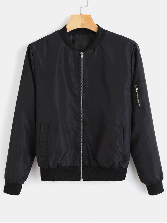 Utility Pocket Bomber Jacket   Black M by Zaful