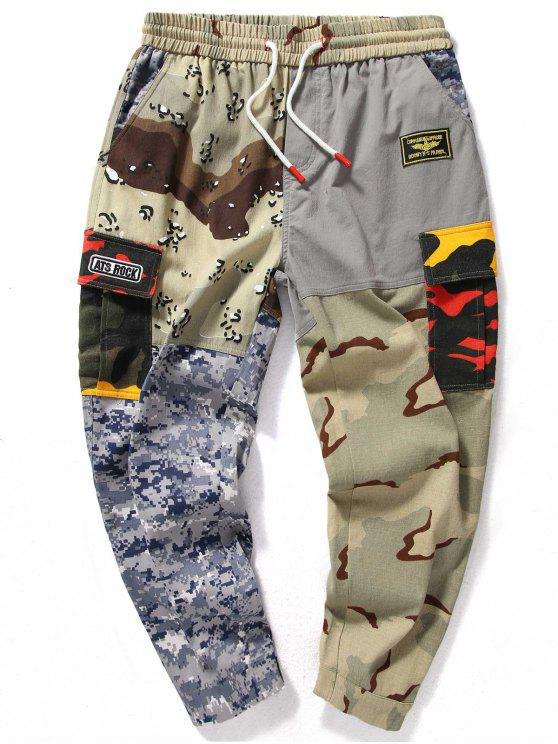 buy Camo Patchwork Elastic Waist Jogger Pants - ACU CAMOUFLAGE XL