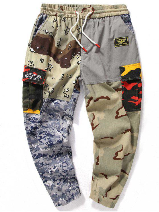 Calças Camuflagem Patchwork Elástico na Cintura - ACU Camuflagem 3XL
