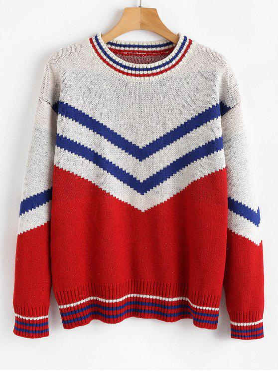 hot Loose Fitting V-shaped Stripes Pullover Sweater - MULTI ONE SIZE