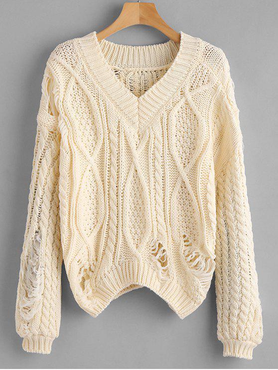 Zerrissene Chunky Knit lose Pullover - Beige  Eine Größe