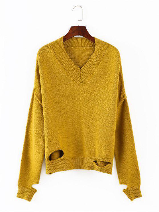 trendy V Neck Cutout Sweater - GOLDENROD ONE SIZE