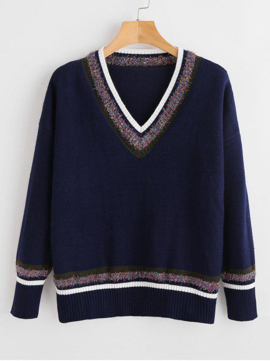 shops Threads Embellished Striped Sweater - MIDNIGHT BLUE ONE SIZE