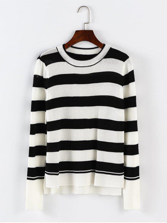 sale Stripes Slit High Low Knitwear - BLACK ONE SIZE