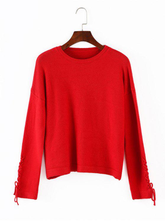 outfit Lace Up Loose Sweater - RED ONE SIZE
