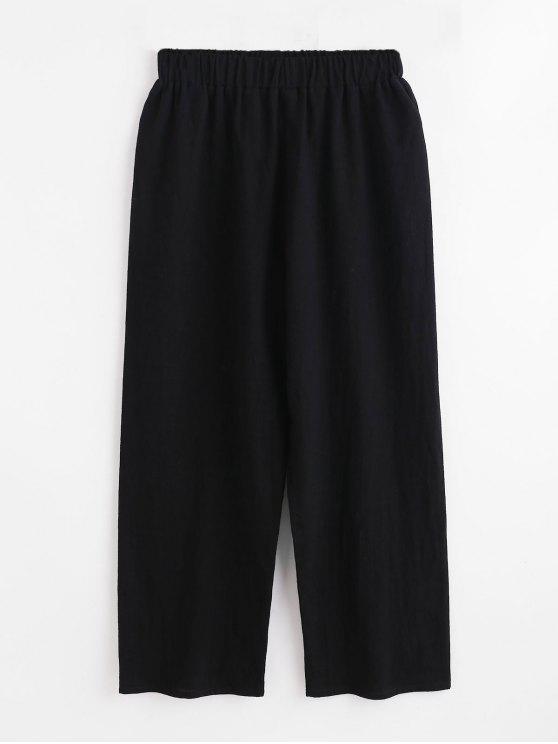 Pantalones de pierna ancha de cintura alta - Negro S