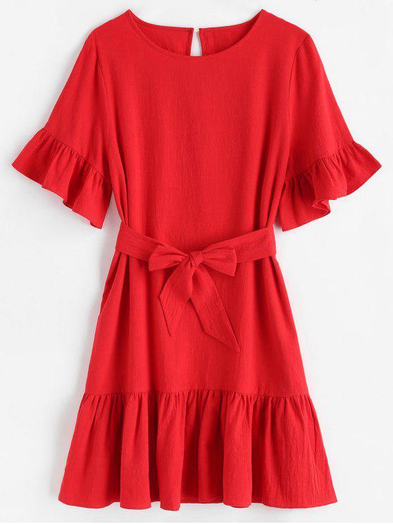 ZAFUL Mini Robe Ceinturée à Volants - Rouge M