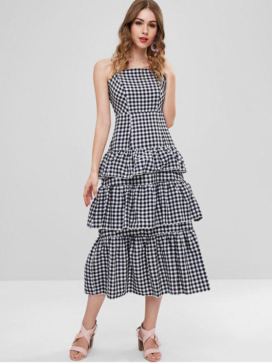 ZAFUL Gingham Tiered Slip Dress - Multi L