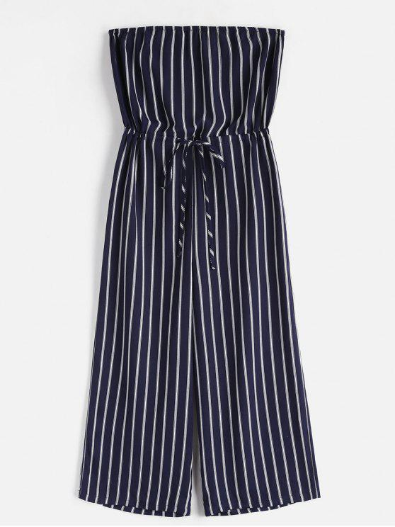 women ZAFUL Striped Strapless Wide Leg Jumpsuit - MIDNIGHT BLUE M