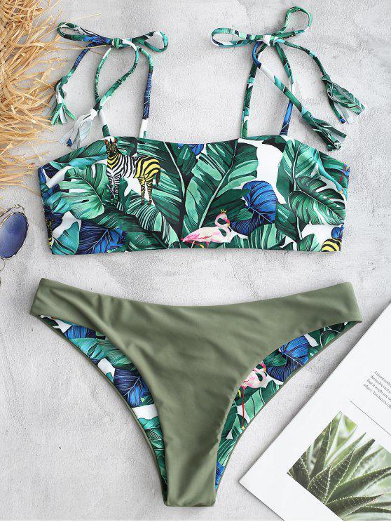ZAFUL Conjunto de Bikini de Trasero con Estampado en la Selva - Multicolor S