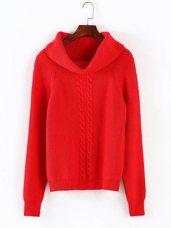 sale ZAFUL Hemp Flower Christmas Turtleneck Sweater - RED ONE SIZE
