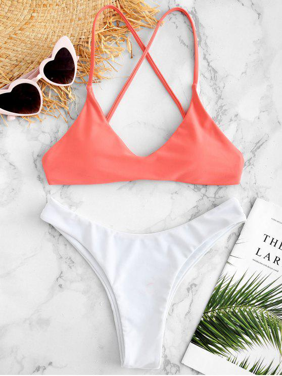buy ZAFUL Criss Cross Neon Bikini Set - WATERMELON PINK S