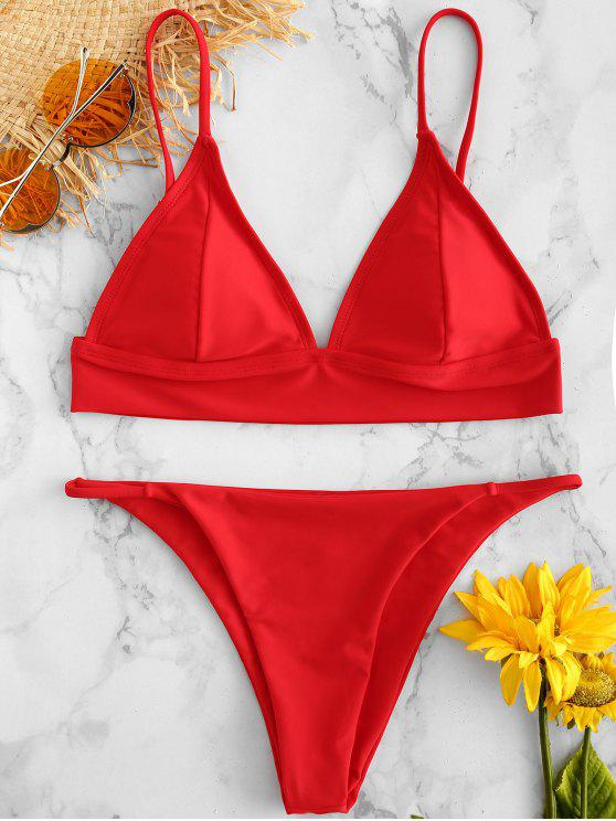 best ZAFUL Low Waisted Plunge Bikini Set - LAVA RED L