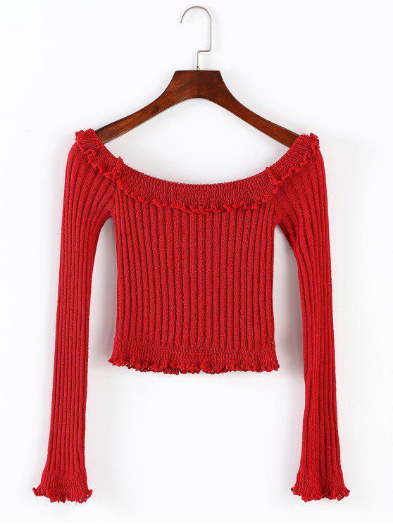 unique ZAFUL Ruffles Trim Off Shoulder Crop Sweater - RED L