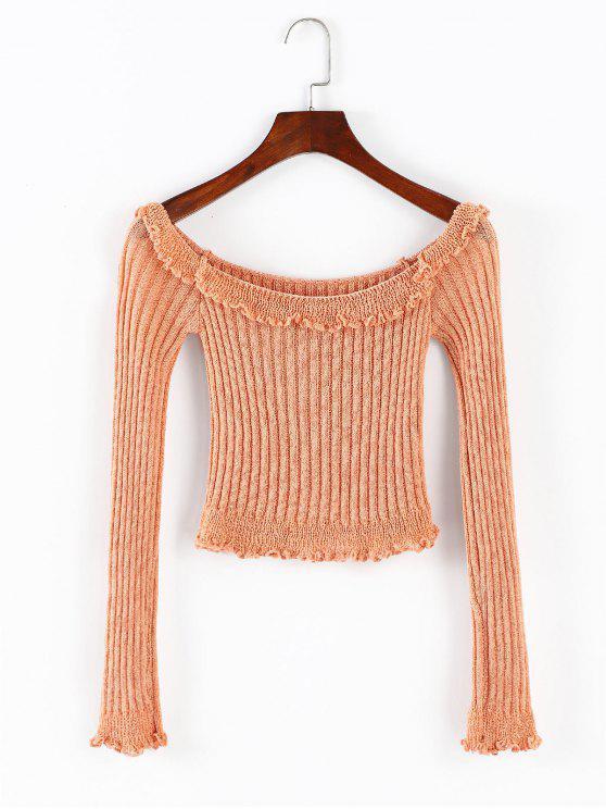 new ZAFUL Ruffles Trim Off Shoulder Crop Sweater - ORANGE PINK M
