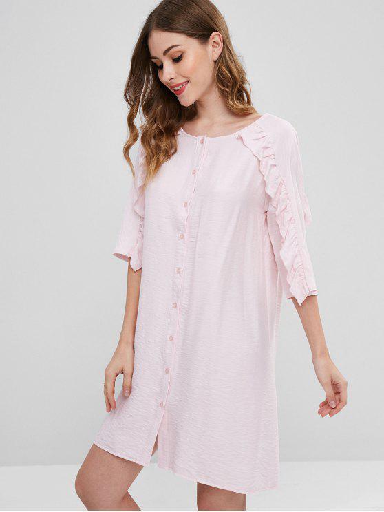 chic ZAFUL Ruffle Button Up Tunic Dress - LIGHT PINK S