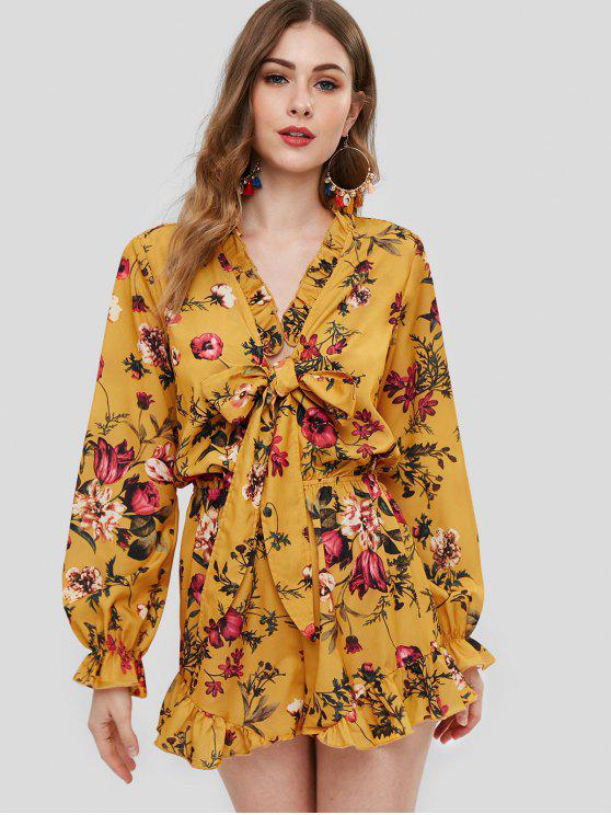 lady ZAFUL Floral Print Long Sleeve Ruffles Romper - YELLOW M