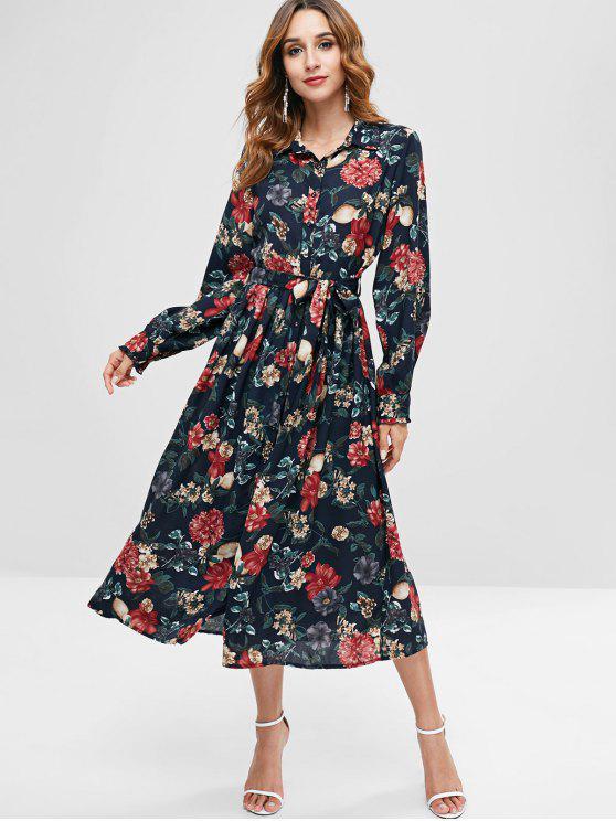 affordable ZAFUL Floral Midi Shirt Dress - BLACK M