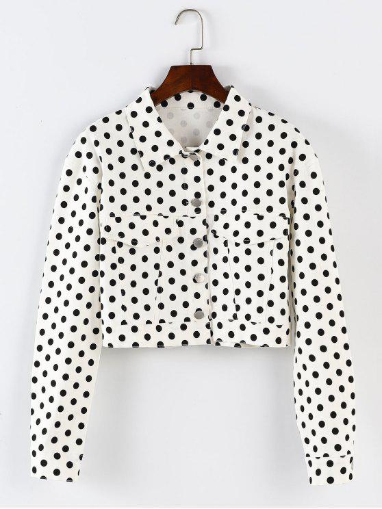 ladies ZAFUL Polka Dot Button Up Cropped Jacket - WHITE L