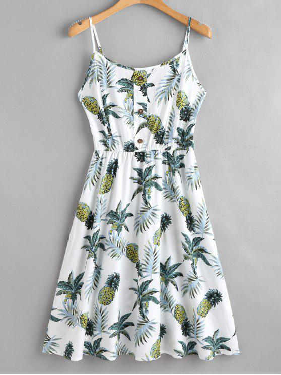 shops Tropical Print Midi Cami Dress - WHITE S