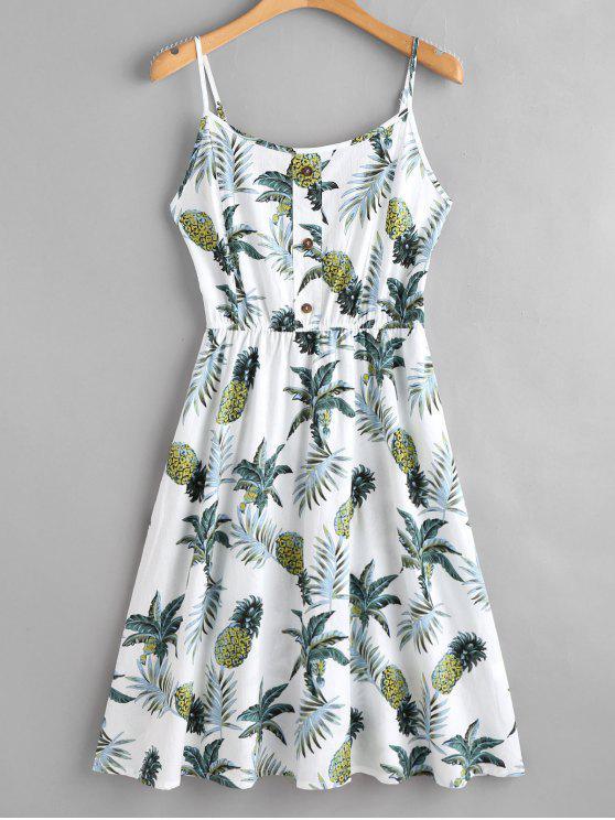 latest Tropical Print Midi Cami Dress - WHITE M