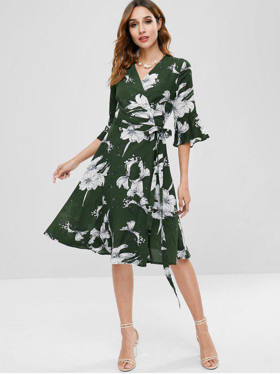 Zaful flor sino manga envoltório vestido - Exército verde L