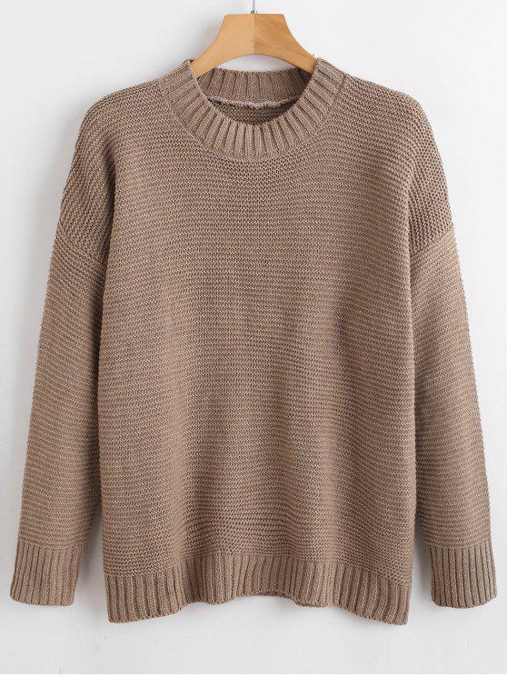 Брошенный плечевой свитер - Темный хаки Один размер