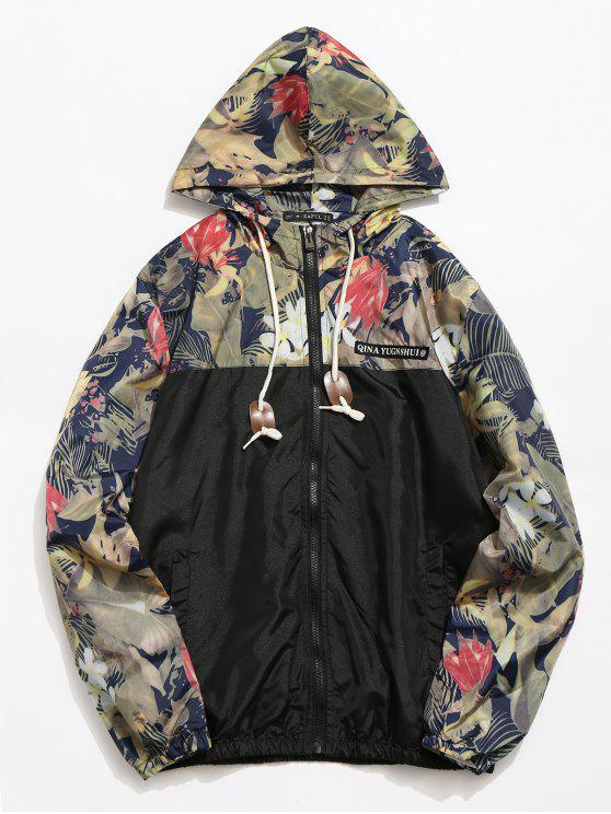 fancy Floral Printed Patchwork Hooded Jacket - BLACK XS